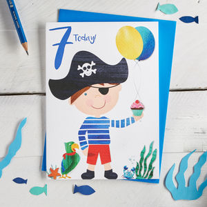 Age Seven Pirate Birthday Card