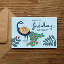'Have A Fabulous Birthday' Peacock Birthday Card
