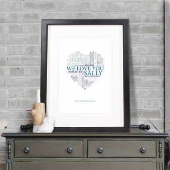 Personalised Typographic Heart Print