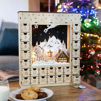 Personalised Wooden Winter Scene Advent Calendar