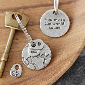 'You Mean The World To Me' Keyring - gifts for him