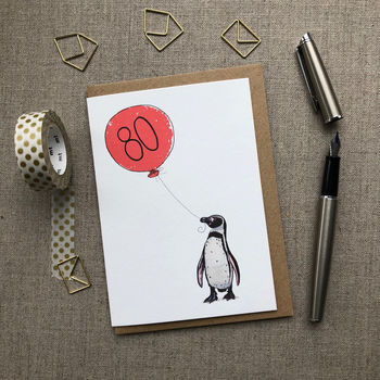 Personalised 80th Birthday Card Penguin Design