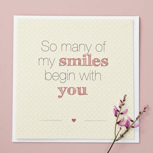 'So Many Smiles' Valentine's Day Card - original valentine's cards