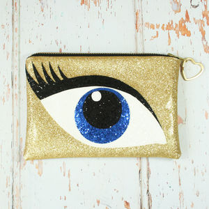 Glitter Eye Clutch Bag Blue - bags & purses