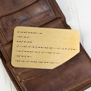Morse Code Personalised Message Wallet Keepsake