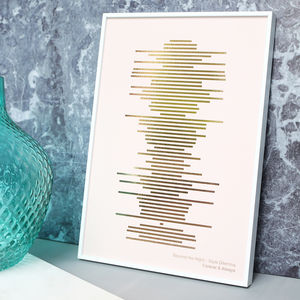 Rose Gold On Blush Minimalist Soundwave Print