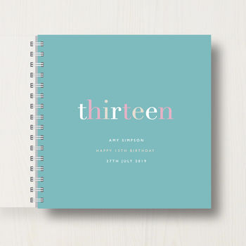 Personalised 13th Birthday Memory Book in mint
