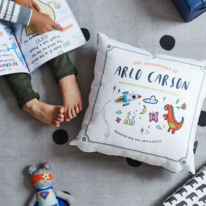 Personalised Child's Story Book Cushion - baby's room