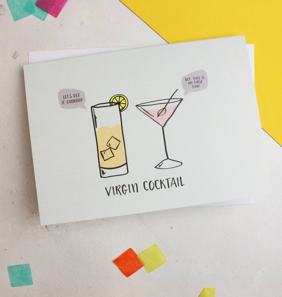 Greatest Virgin Cocktail Funny Food Pun Birthday Card By Glb Graphics AC46