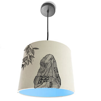 Gorilla lampshade with light blue lining