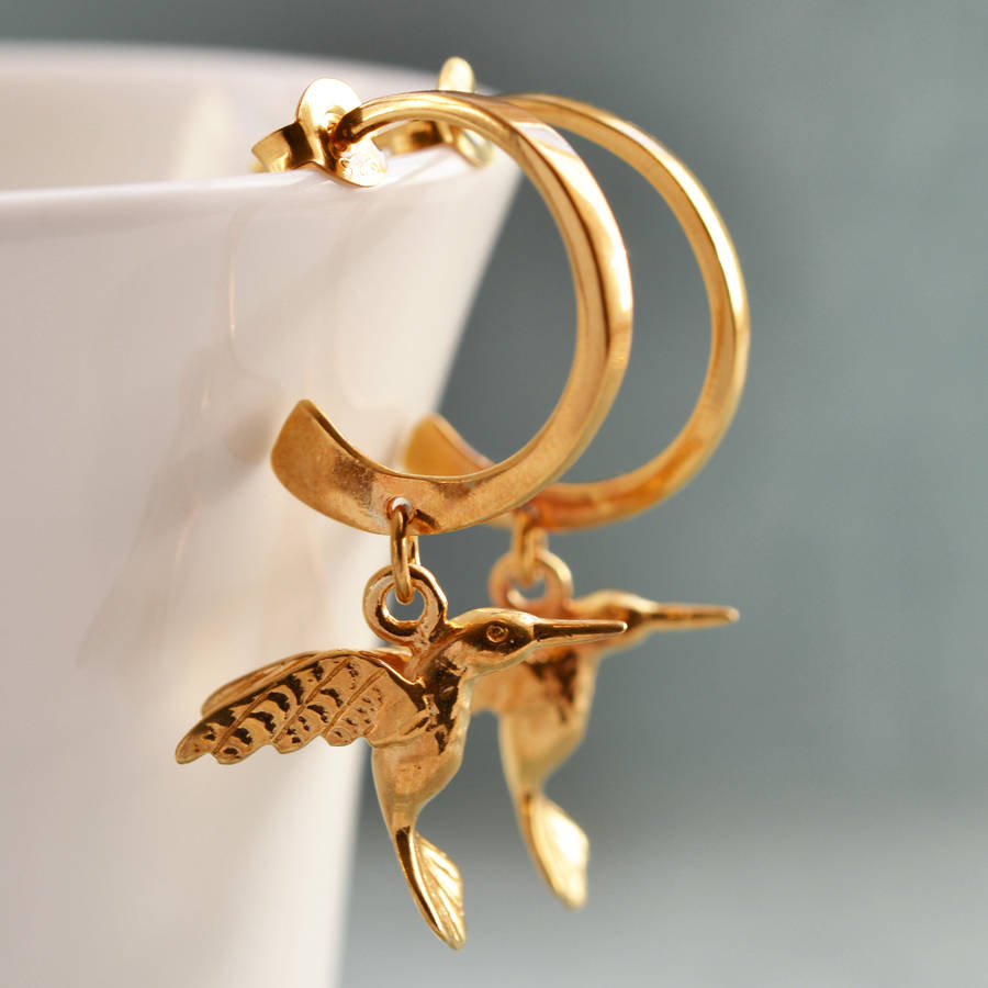 Lily Charmed Gold Hummingbird Hoop Earrings