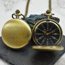 Engraved Bronze Vintage Pocket Watch With Black Dial