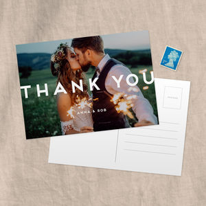 Bold Personalised Photo Wedding Thank You Postcard