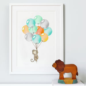 Personalised Bright Balloon Bunch Nursery Print - baby's room