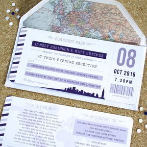 Purple Boarding Pass Travel Wedding Invitations