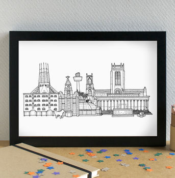 Liverpool Landmarks Skyline Art Print Unframed