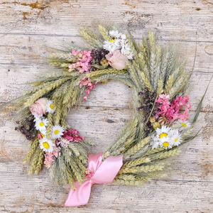 Pink Wheat Wreath - room decorations