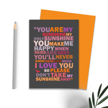 'You Are My Sunshine' Card