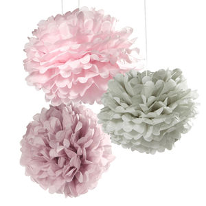 Pastel Tissue Paper Pom Poms - hanging decorations