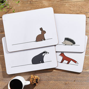 Woodland Collection Placemats, Set Of Four