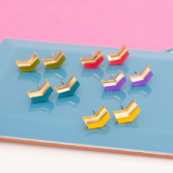 Arrow Chevron Studs Rainbow Colours