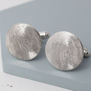 Personalised Fingerprint Round Cufflinks - wedding jewellery