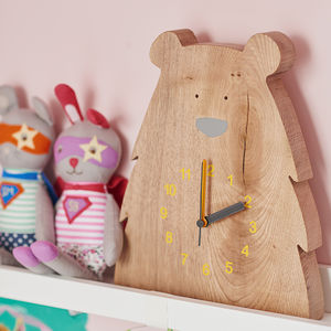 Wooden Bear Clock - decorative accessories