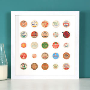 Original Vintage Milk Bottle Top Collage Framed Artwork - modern & abstract