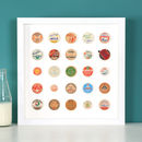 Original Vintage Milk Bottle Top Collage Framed Artwork