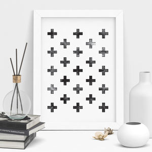 Scandinavian Swiss Cross Geometric Print Art