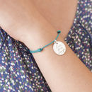 Personalised Disc Friendship Bracelet Sterling Silver and Spring Green Braid