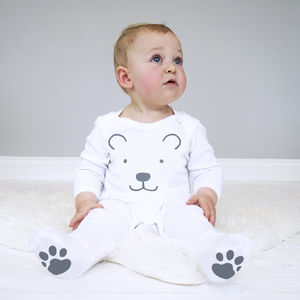 Polar Bear Baby Sleepsuit - babygrows