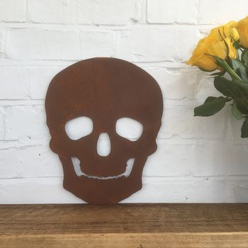 Rusted Metal Skull Silhouette Sign Ornament