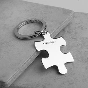 Personalised Sterling Silver Jigsaw Keyring - mens