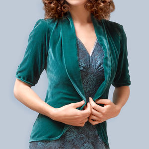 Silk Velvet Tea Jacket In Peacock - women's fashion