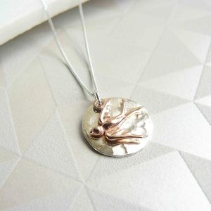 Hammered Silver Pendant With Rose Gold Swallow