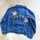 'Happy' Embroidered Kids Denim Jacket