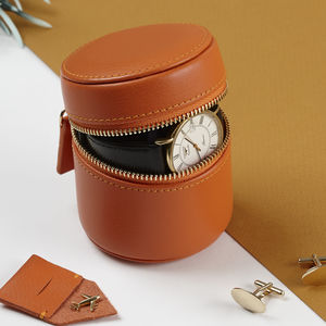 Personalised Luxury Leather Stud Watch And Cufflink Box - 3rd anniversary: leather