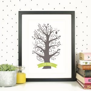 Personalised Family Tree Print Gift - nature & landscape