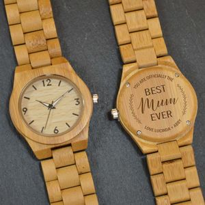 Personalised Bamboo Wrist Watch For Mum - whats new