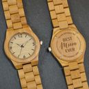 Personalised Bamboo Wrist Watch For Mum