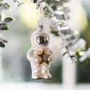 Astronaut Hanging Glass Christmas Decoration