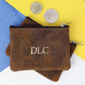 Personalised Leather Coin Pouch - more