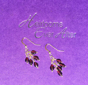 Gold Garnet Dangle Earrings - earrings