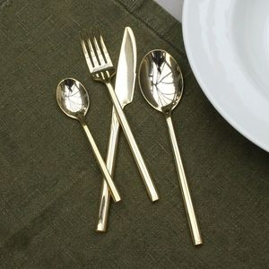 Luxury Sixteen Piece Shiny Brass Cutlery Set - on trend - tropic noir