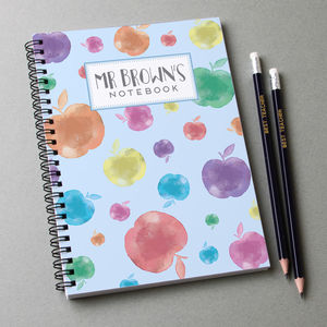 Personalised Teacher Notebook And 12 Graphite Pencils - notebooks & journals