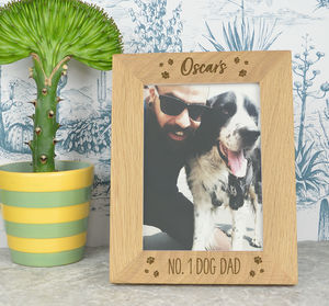 Dog Dad Personalised Oak Photo Frame