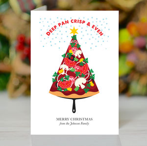'Deep Pan Crisp And Even' Personalised Xmas Card Pack