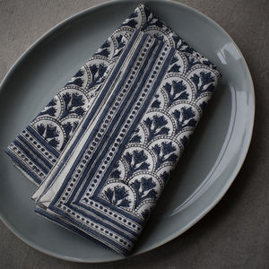 Blue And White Block Print Napkin - table linen