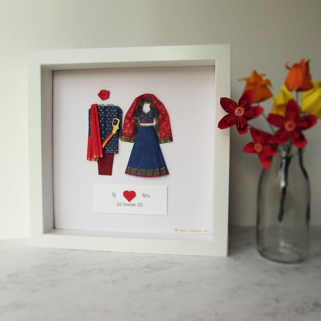 bespoke asian wedding frame first wedding anniversary by the origami ...